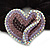 Rhodium Plated Swarovski Crystal Crinkle 'Heart' Pony Tail Black Hair Scrunchie - AB/ Purple/ Amethyst - view 2
