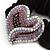 Rhodium Plated Swarovski Crystal Crinkle 'Heart' Pony Tail Black Hair Scrunchie - AB/ Purple/ Amethyst - view 3