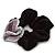 Rhodium Plated Swarovski Crystal Crinkle 'Heart' Pony Tail Black Hair Scrunchie - AB/ Purple/ Amethyst - view 4