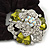 Large Layered Rhodium Plated Swarovski Crystal Rose Flower Pony Tail Black Hair Scrunchie - Olive Green/ Clear/ AB - view 3