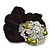 Large Layered Rhodium Plated Swarovski Crystal Rose Flower Pony Tail Black Hair Scrunchie - Olive Green/ Clear/ AB - view 4