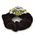 Large Layered Rhodium Plated Swarovski Crystal Rose Flower Pony Tail Black Hair Scrunchie - Olive Green/ Clear/ AB - view 5