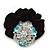 Large Layered Rhodium Plated Swarovski Crystal Rose Flower Pony Tail Black Hair Scrunchie - Light Blue/ Clear/ AB