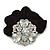 Large Layered Rhodium Plated Swarovski Crystal Rose Flower Pony Tail Black Hair Scrunchie - Clear/ AB