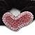 Rhodium Plated Swarovski Crystal 'Asymmetrical Heart' Pony Tail Black Hair Scrunchie - Light Pink/ Fuchsia - view 2