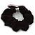 Rhodium Plated Swarovski Crystal 'Asymmetrical Heart' Pony Tail Black Hair Scrunchie - Light Pink/ Fuchsia - view 3