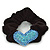 Rhodium Plated Swarovski Crystal 'Asymmetrical Heart' Pony Tail Black Hair Scrunchie - Light Blue