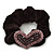 Rhodium Plated Swarovski Crystal 'Asymmetrical Heart' Pony Tail Black Hair Scrunchie - Amethyst/ Deep Purple