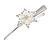 Bridal/ Prom/ Wedding Rhodium Plated Clear Crystal Open Flower Hair Beak Clip/ Concord Clip - 13cm Length - view 3