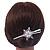 Bridal/ Prom/ Wedding Rhodium Plated Clear Crystal Open Flower Hair Beak Clip/ Concord Clip - 13cm Length - view 2
