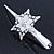 Bridal/ Prom/ Wedding Rhodium Plated Clear Crystal Open Flower Hair Beak Clip/ Concord Clip - 13cm Length - view 5