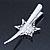 Bridal/ Prom/ Wedding Rhodium Plated Clear Crystal Open Flower Hair Beak Clip/ Concord Clip - 13cm Length - view 4