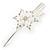 Bridal/ Prom/ Wedding Rhodium Plated Clear Crystal Open Flower Hair Beak Clip/ Concord Clip - 13cm Length - view 10