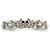 Bridal Wedding Prom Silver Tone Simulated Pearl Crystal 'Love Birds' Barrette Hair Clip Grip - 90mm Width - view 2