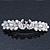 Bridal Wedding Prom Silver Tone Simulated Pearl Crystal 'Love Birds' Barrette Hair Clip Grip - 90mm Width
