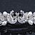 Bridal Wedding Prom Silver Tone Simulated Pearl Crystal 'Love Birds' Barrette Hair Clip Grip - 90mm Width - view 5