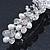 Bridal Wedding Prom Silver Tone Simulated Pearl Crystal 'Love Birds' Barrette Hair Clip Grip - 90mm Width - view 8