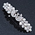 Bridal Wedding Prom Silver Tone Simulated Pearl Crystal 'Love Birds' Barrette Hair Clip Grip - 90mm Width - view 7