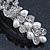 Bridal Wedding Prom Silver Tone Simulated Pearl Crystal 'Love Birds' Barrette Hair Clip Grip - 90mm Width - view 10