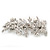 Bridal Wedding Prom Silver Tone Crystal Diamante & Simulated Pearl Floral Barrette Hair Clip Grip - 85mm Across - view 8