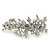 Bridal Wedding Prom Silver Tone Crystal Diamante & Simulated Pearl Floral Barrette Hair Clip Grip - 85mm Across - view 2