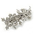 Bridal Wedding Prom Silver Tone Crystal Diamante & Simulated Pearl Floral Barrette Hair Clip Grip - 85mm Across - view 9