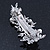 Bridal Wedding Prom Silver Tone Crystal Diamante & Simulated Pearl Floral Barrette Hair Clip Grip - 85mm Across - view 6