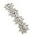 Bridal Wedding Prom Silver Tone Crystal Diamante 'Flower' Barrette Hair Clip Grip - 85mm Across - view 2
