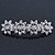 Bridal Wedding Prom Silver Tone Crystal Diamante 'Flower' Barrette Hair Clip Grip - 85mm Across - view 8