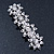 Bridal Wedding Prom Silver Tone Crystal Diamante 'Flower' Barrette Hair Clip Grip - 85mm Across