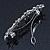 Bridal Wedding Prom Silver Tone Crystal Diamante 'Flower' Barrette Hair Clip Grip - 85mm Across - view 6