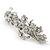 Bridal Wedding Prom Silver Tone Diamante 'Intertwined Flowers' Barrette Hair Clip Grip - 85mm Across - view 10