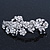 Bridal Wedding Prom Silver Tone Diamante 'Intertwined Flowers' Barrette Hair Clip Grip - 85mm Across - view 8