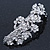 Bridal Wedding Prom Silver Tone Diamante 'Intertwined Flowers' Barrette Hair Clip Grip - 85mm Across - view 7