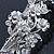 Bridal Wedding Prom Silver Tone Diamante 'Intertwined Flowers' Barrette Hair Clip Grip - 85mm Across - view 5