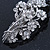 Bridal Wedding Prom Silver Tone Diamante 'Intertwined Flowers' Barrette Hair Clip Grip - 85mm Across - view 9