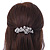 Bridal Wedding Prom Silver Tone Diamante 'Intertwined Flowers' Barrette Hair Clip Grip - 85mm Across - view 2