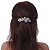 Bridal Wedding Prom Silver Tone Diamante 'Intertwined Flowers' Barrette Hair Clip Grip - 85mm Across - view 3
