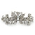Bridal Wedding Prom Silver Tone Filigree Diamante 'Butterfly' Barrette Hair Clip Grip - 90mm Across - view 3