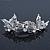 Bridal Wedding Prom Silver Tone Diamante 'Butterfly' Barrette Hair Clip Grip - 90mm Across