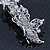 Bridal Wedding Prom Silver Tone Diamante 'Butterfly' Barrette Hair Clip Grip - 90mm Across - view 7