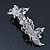 Bridal Wedding Prom Silver Tone Diamante 'Butterfly' Barrette Hair Clip Grip - 90mm Across - view 5