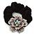 Large Sculptured Rhodium Plated Swarovski Crystal Flower Pony Tail Black Hair Scrunchie - Purple/ Clear