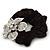 Large Sculptured Rhodium Plated Swarovski Crystal Flower Pony Tail Black Hair Scrunchie - Clear - view 4