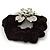 Large Sculptured Rhodium Plated Swarovski Crystal Flower Pony Tail Black Hair Scrunchie - Clear - view 5
