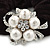 Rhodium Plated Crystal Simulated Pearl 'Flower' Pony Tail Black Hair Scrunchie - White/ Clear - view 2