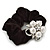 Rhodium Plated Crystal Simulated Pearl 'Flower' Pony Tail Black Hair Scrunchie - White/ Clear - view 3