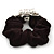 Rhodium Plated Crystal Simulated Pearl 'Flower' Pony Tail Black Hair Scrunchie - White/ Clear - view 4
