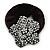 Black Tone Swarovski Crystal 'Flower' Pony Tail Black Hair Scrunchie - Clear