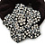 Black Tone Swarovski Crystal 'Flower' Pony Tail Black Hair Scrunchie - Clear - view 2